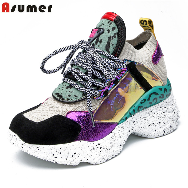ASUMER Cow   leather   Horse hair women sneakers fashion mixed color comfortable walking shoes platform flats ladies casual shoes