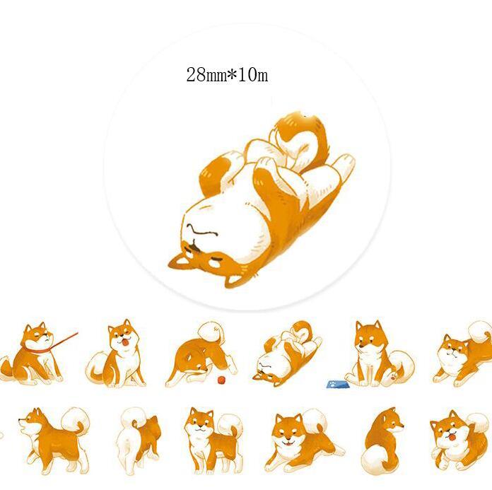 28mm*10m Super Lovely animal kawaii Shiba cute dog Washi Tape DIY Scrapbooking Sticker Label Masking Tape Office Supply Escolar28mm*10m Super Lovely animal kawaii Shiba cute dog Washi Tape DIY Scrapbooking Sticker Label Masking Tape Office Supply Escolar