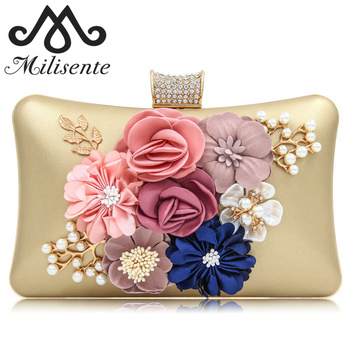 Milisente Women Clutch Bags Lady Beauty Evening Bag Flower Day Clutch Purses Female Blue Wedding Bag