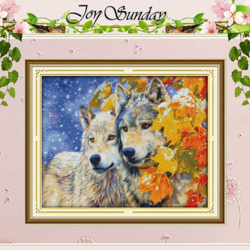 Wolf Par Patterns räknade Cross Stitch 11CT 14CT Cross Stitch Set Kinesiska Djur Korsstygn Kit Broderi Needlework