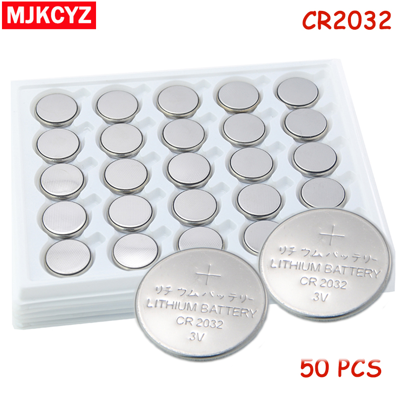 50Pcs 3V CR2032 Lithium Button Cell Battery BR2032 DL2032 ECR2032 CR2032 Button Coin Cell BatteriesFor Watches clocks calculator