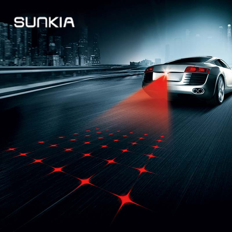 SUNKIA Cross Star Anti Collision Rear-end Car Laser Tail Fog Light Auto Brake Parking Lamp Rearing Warning Light Car Styling