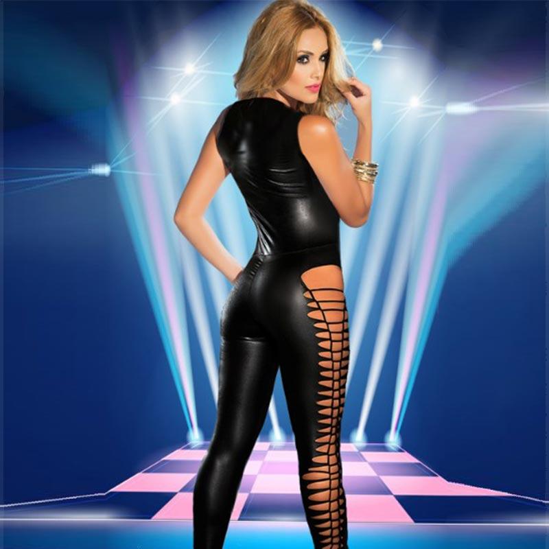 Sexy Womens Black Sleeveless PVC Jumpsuit L55337