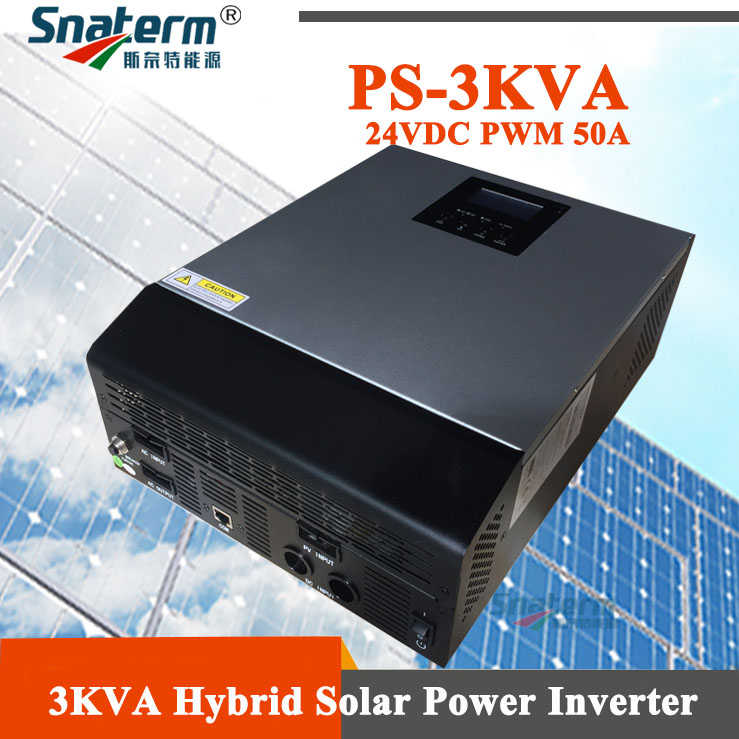 3000VA 2400W Pure Sine Wave Hybrid Solar Inverter Built-in PWM 50A Solar Charge Controller and AC charger for Home Use
