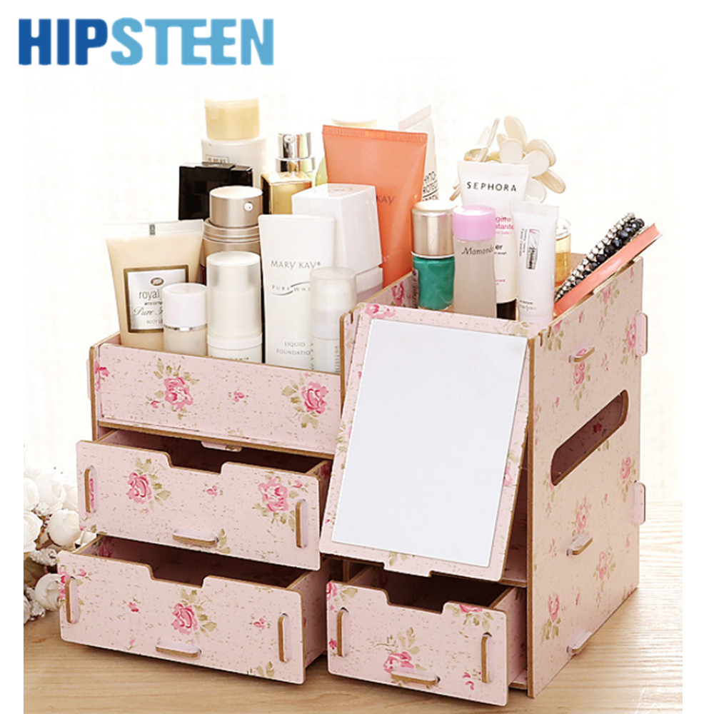 HIPSTEEN DIY Wooden Desk Makeup Cosmetic Box Drawers ...