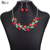 תכשיטי אופנה קובע גובה איכות MS1504403 עיצוב פירות תות קריסטל ייחודי תכשיטי שרשרת סטים לנשים מתנות