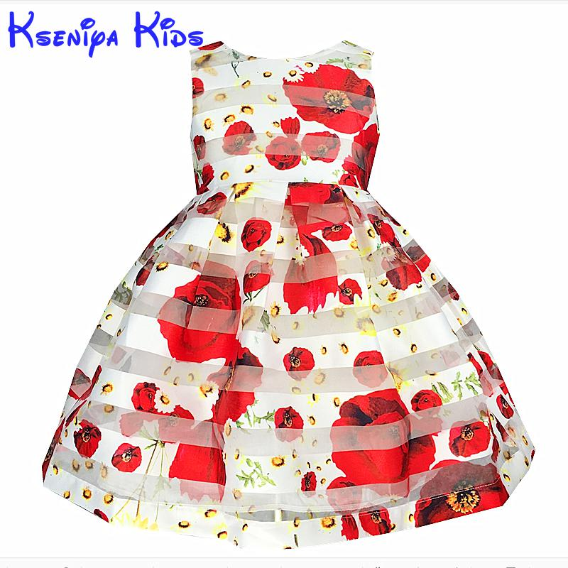 2017 European Style Summer Girl Dress Sleeveless Floral Child Ball Gown Kids Dresses For Girls Wedding Dress 2-10y Zk0701 kseniya kids toddler girl dresses 2017 brand new princess dress summer little girl dress sleeveless floral girls costume 2 10y
