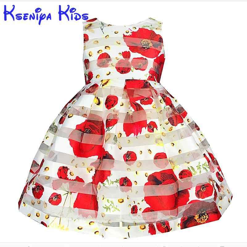 2017 europejski styl lato dziewczyna sukienka bez rękawów kwiatowy duży dziecko suknia dla dzieci sukienki dla dziewczynek suknia ślubna 2-14y Zk0701