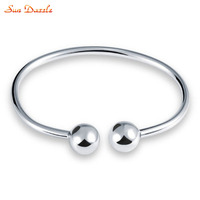 Genuine Real Pure Solid 925 Sterling Silver Bangles For Women Jewelry Female Cuff Bangle Bracelet Hand