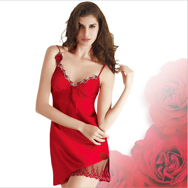 Luxury Sexy Satin Silk Sleepwear Embroidery Women Sleep Dress Summer Sexy Night Sleeping Dress Women Sleepwear