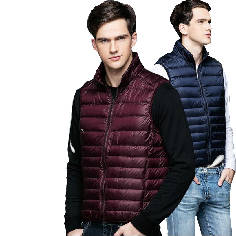 LEFT ROM fashion Men high-grade 90% White duck down Down vest/Male Stand collar slim Fit leisure Super light thin Down jacket