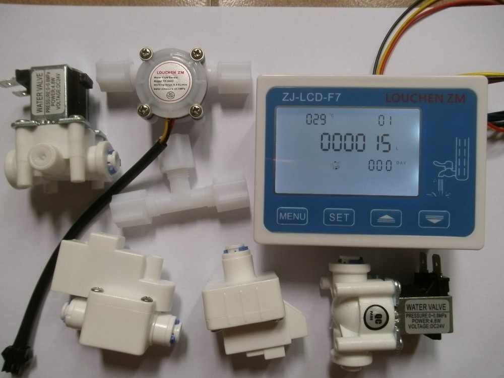 1 Kit NEW  RO Pure Water Filter Controller Display ZJ-LCD-F7+Solenoid Valve+Switch+Flow Sensor+TDS