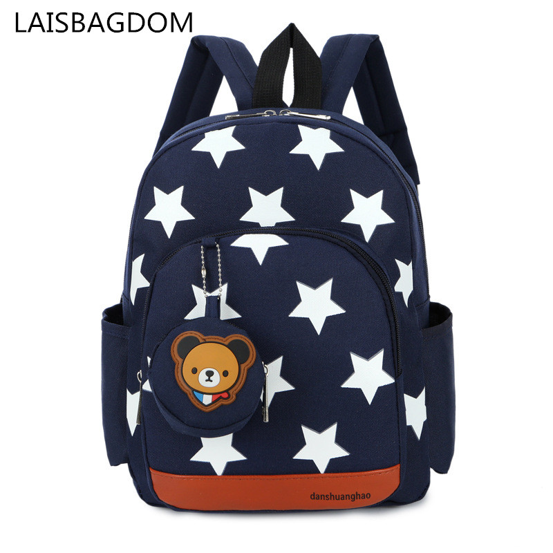Boys Backpacks for Kindergarten Stars Printing Nylon Children Backpacks Kids Kindergarten School Bags for Baby Girls(China)