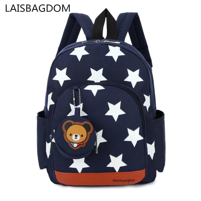 Boys Backpacks For Kindergarten Stars Printing Nylon Children Backpacks Kids Kindergarten School Bags For Baby Girls