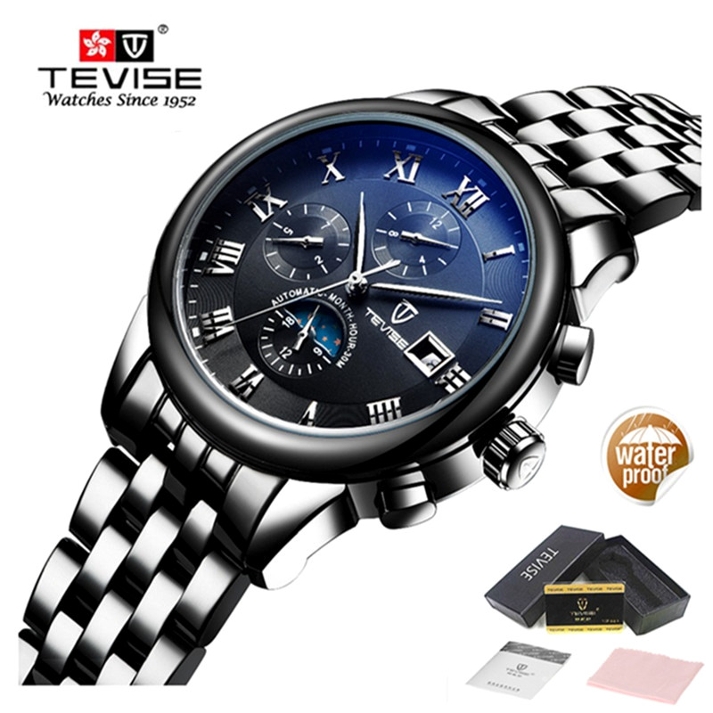 TEVISE Automatic Mechanical Watch Men Luxury Brand Mens Waterproof Watches Luminous Stainless Steel Gold Watch Relogio Masculino guanqin gj16059 watches men luxury brand chinese dragon mechanical automatic waterproof stainless steel luminous gold watch