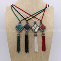Color Mix snakeskin necklace with tassel handcrafted druzy necklace wholesale druzy jewelry  fashion gems for women 702