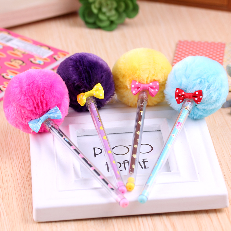 Korea creative stationery wholesale freaky super star lovely hair ball pen needle Plush  gel