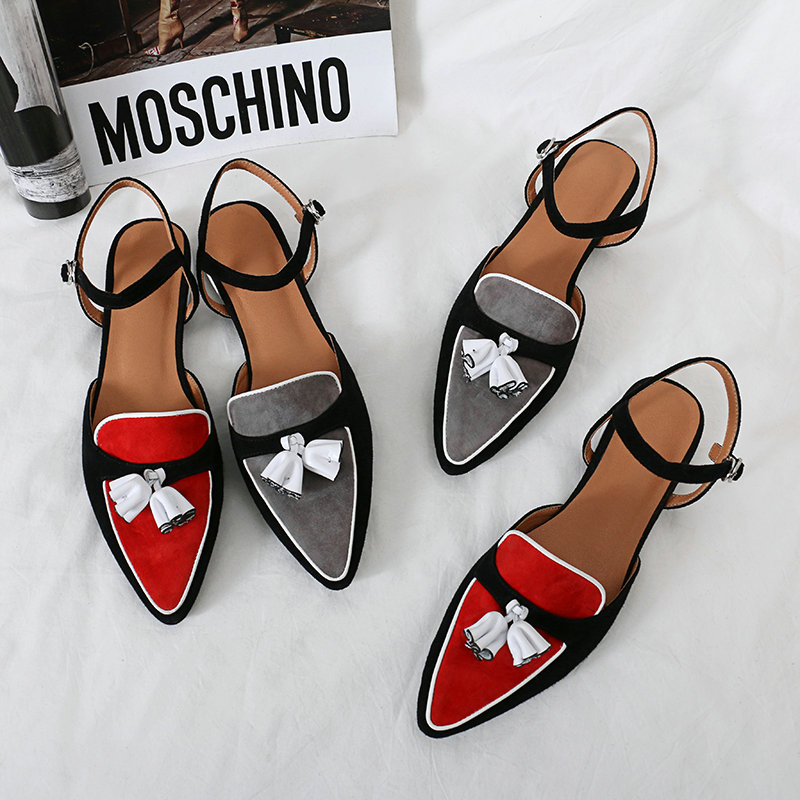 Women Leather Luxury Band Flat Shoes Woman Pointed Toe Summer Sandals Red Gray Comfort Dress Party