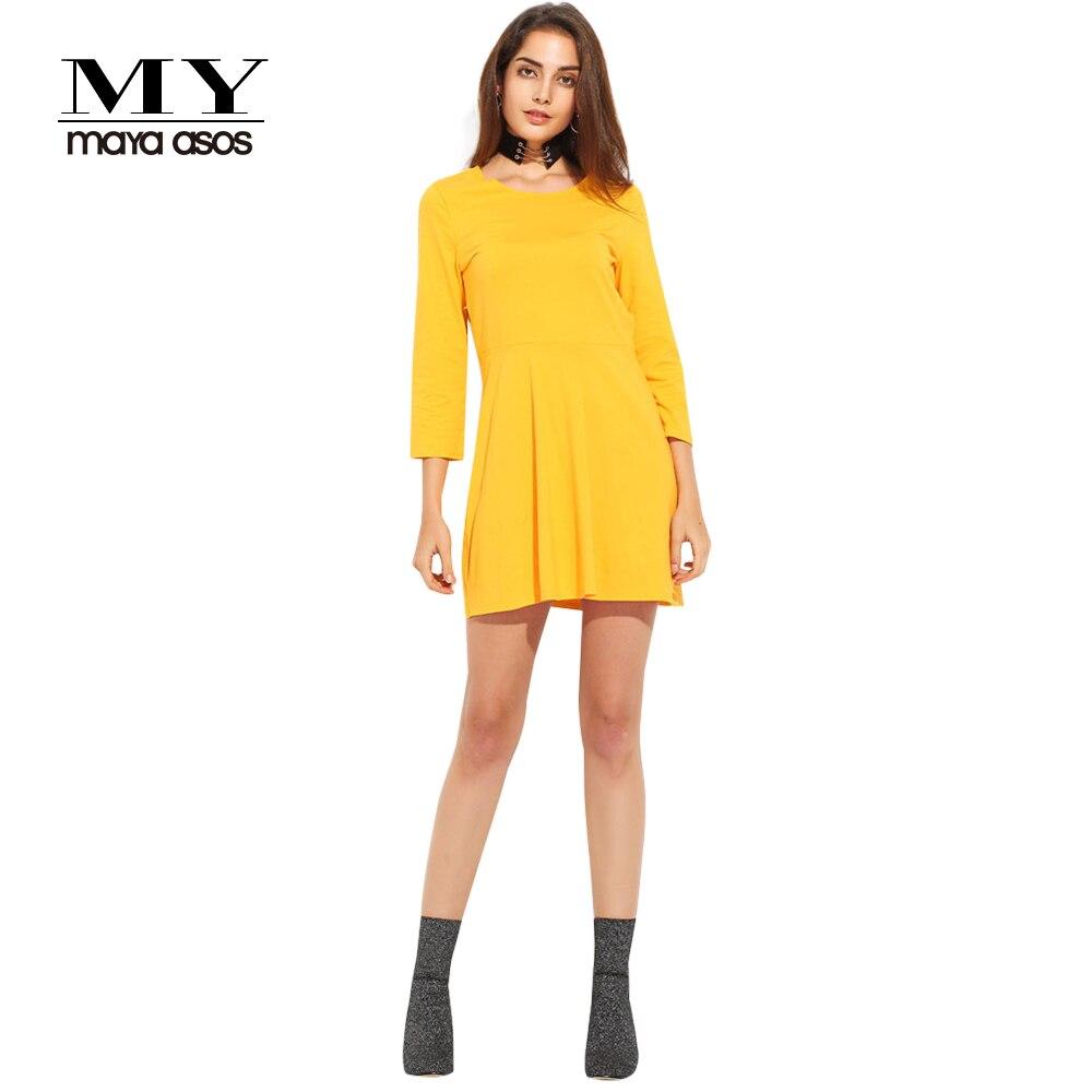 MY MAYAASOS Spring Dress 2017 Back Cut Up Yellow Dress Women Long Sleeve  Tunic Mini Dress O Neck Short Casual Vestido De Festa-in Dresses from  Women s ... 941280266