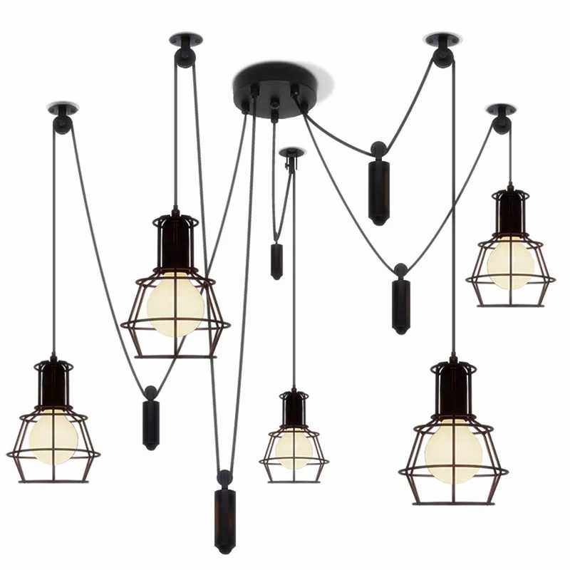 Modern minimalist American style Internet cafe bar wrought iron Nordic loft retro industrial wind cage lift chandelier LL329433Modern minimalist American style Internet cafe bar wrought iron Nordic loft retro industrial wind cage lift chandelier LL329433