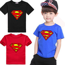 2015 Cotton Kids Boys Superman Shirts Short Sleeve Children Costume Clothing