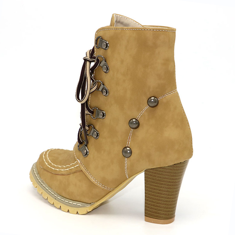 KemeKiss Plus Size 34-43 Women Shoes Women Boots Women High Heels Shoes Aquare Heel Lace Up High Quality Casual Fashion Footwear