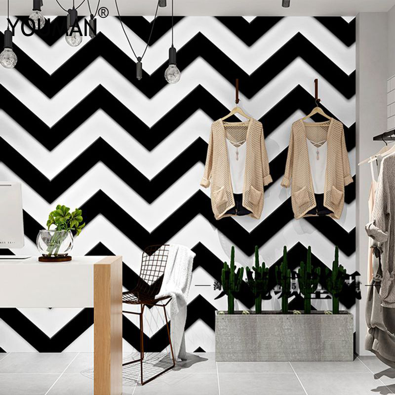 Luxury 3D Black White Stripes Wallpaper Flocking Non-woven Wallpaper Roll Living Room Bedroom TV Backgroud Mural Wall Paper Roll