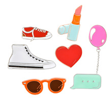 Fashion Enamel Jacket and Backpack Brooch Pins Accessories Cute Balloon Lipstick Sunglasses Love Heart Shoes Brooch Jewelry