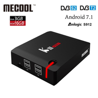 MECOOL KIII PRO DVB S2 DVB T2 DVB C Android 7,1 ТВ коробка 3 ГБ 16 ГБ Amlogic S912 Восьмиядерный 64bit 4 К Поддержка CCcam IP ТВ