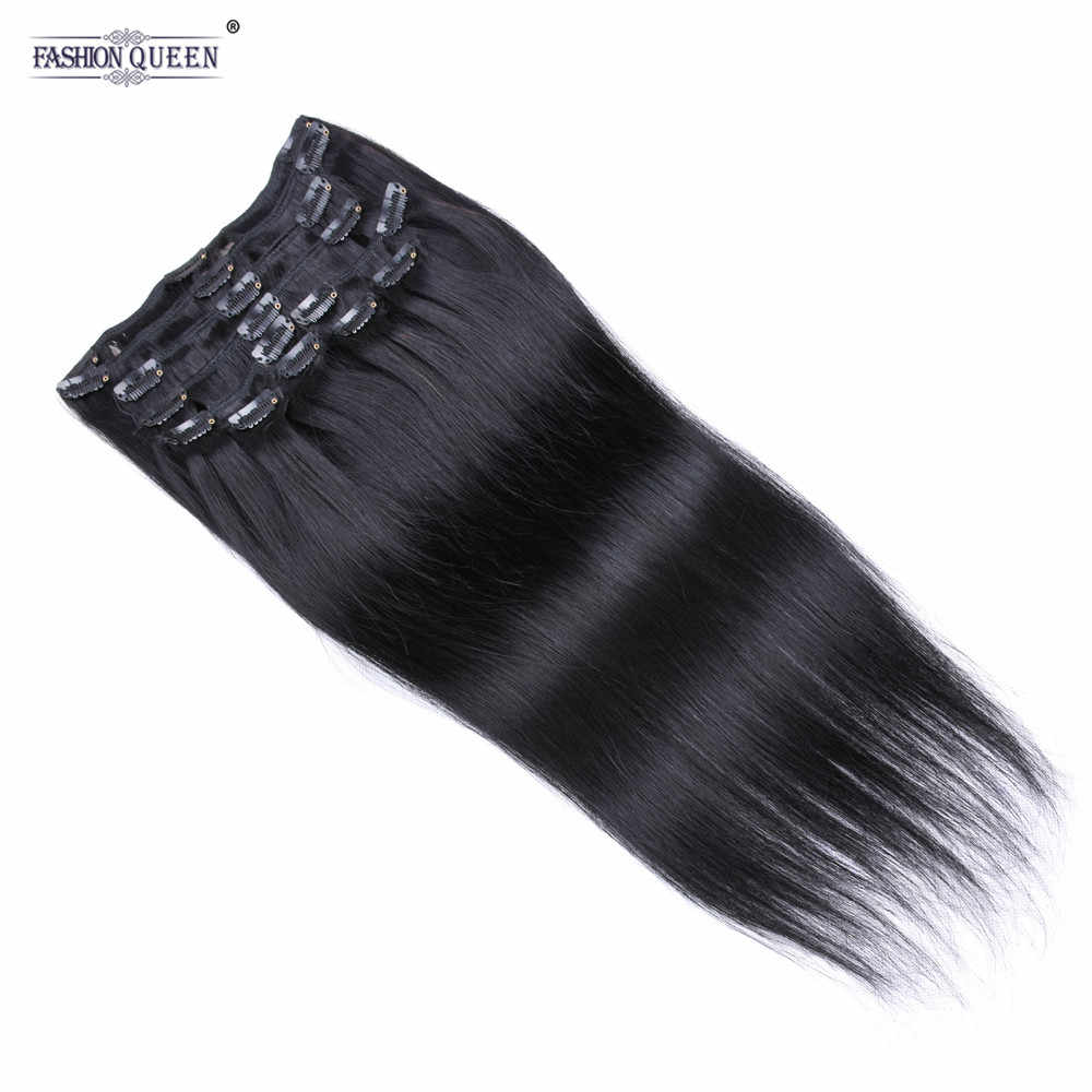 Full Head Clip in Human Hair Extensions #1b Silky Straight Clip Hair Extensions 12pcs/set, weighs 100g with 20 clips, 2pcs free
