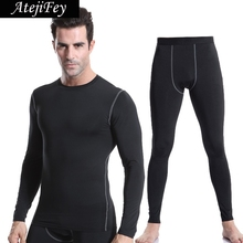AtejiFey 2018 Tights Tracksuit Workout Compression Fitness Men Jogging Running Clothes Sports set Gym Quick Dry yoga Sportswear