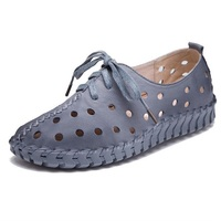 6Color Women S Handmade Shoes Genuine Leather Flat Lacing Breathable Shoes Woman Hollow Out Soft Single