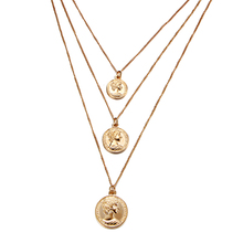 Vintage Coin Pendant Necklaces For Women Girl Fashion Bohemian Multilayer Necklace Choker Female Gold Color Statement Gift 2018