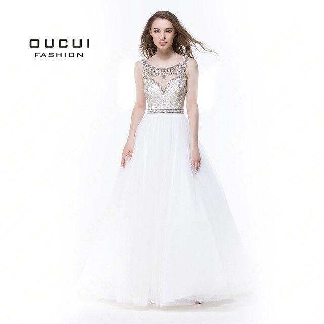 שרוולים לבן שמלות נשף 2019 ערב כדור שמלת מסיבת חתונת טול אשליה ואגלי פורמליות Vestido דה noiva OL102830C