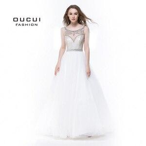 Image 1 - Bez rękawów białe suknie balowe 2019 wieczorowa suknia balowa wesele tiul Illusion frezowanie formalne Vestido de noiva OL102830C
