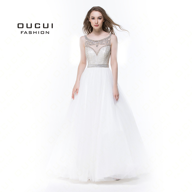 Bez rękawów białe suknie balowe 2019 wieczorowa suknia balowa wesele tiul Illusion frezowanie formalne Vestido de noiva OL102830C