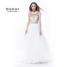 Sleeveless White Prom Dresses 2019 Evening Ball Gown Wedding Party Tulle Illusion Beading Formal Vestido de noiva OL102830C