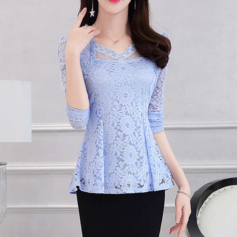 c4e38a458a ... 2019 Plus size Women clothing Spring lace Shirt Tops Cutout basic female  Elegant long-sleeve ...