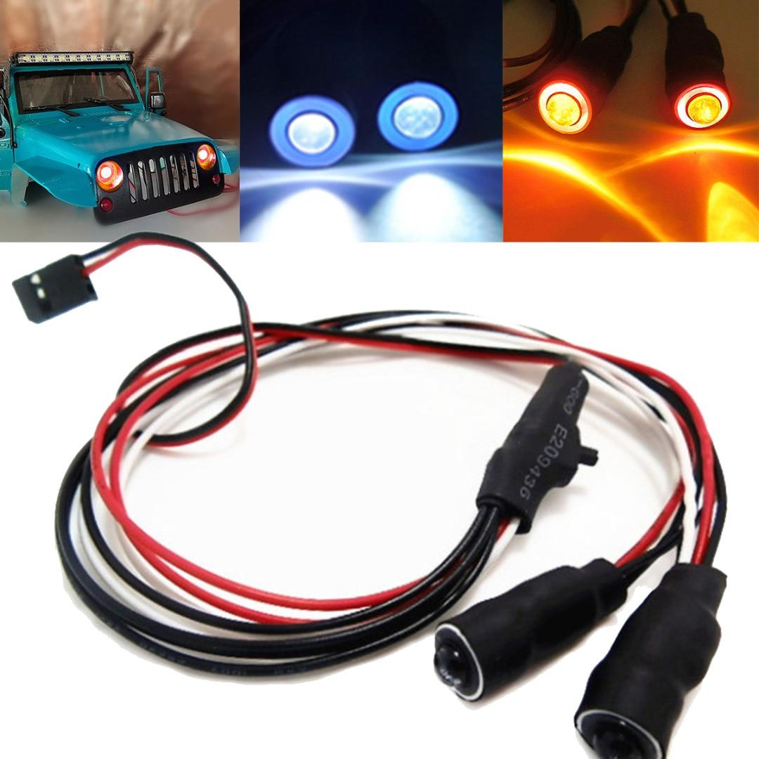 2 LEDs 10mm/13mm Red White Blue Yellow Green Angel Eyes LED Headlight Light For 1/10 RC Cars Truck