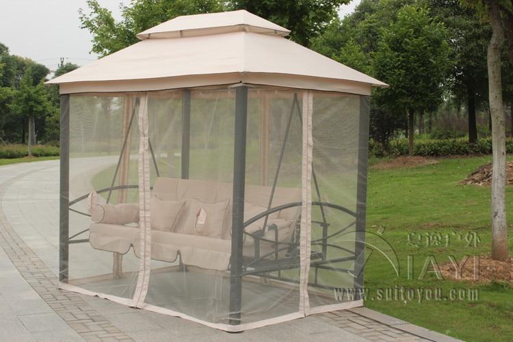 Aliexpress.com : Buy Outdoor 3 Person Patio Daybed Canopy Gazebo Swing Tan  w/ Mesh Walls hammock outdoor chair swing hammock gazebo from Reliable  gazebo ... - Aliexpress.com : Buy Outdoor 3 Person Patio Daybed Canopy Gazebo
