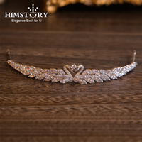 Himstory Brilliant Double Swan Zircon Tiara Bride Crowns Silver Clear CZ Wedding Hair Accessories Bridal Hair Jewelry