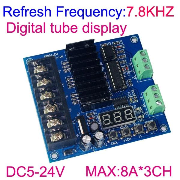 3 kanálový DMX512 RGB ovladač Digitální displej 3CH DMX512 dekodér DC5-24V vstup na každý kanál max. 8A