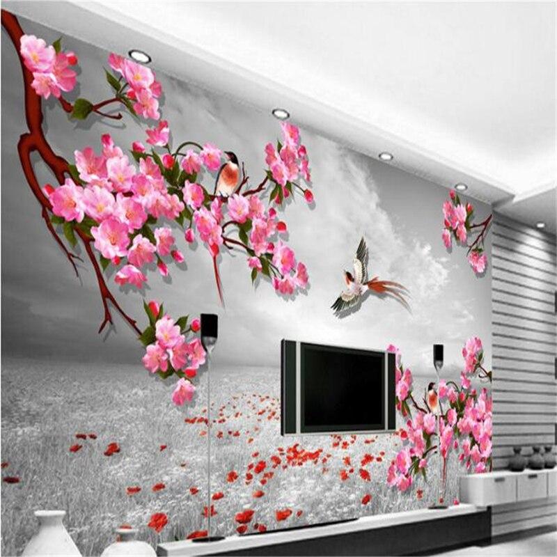 da7d60eb551 Beibehang 3d personalizado foto papel tapiz Murales Pared pegatinas Fondo  Retro flor pájaro diagrama TV sofá Fondo pared murales en Fondos de  pantalla de ...