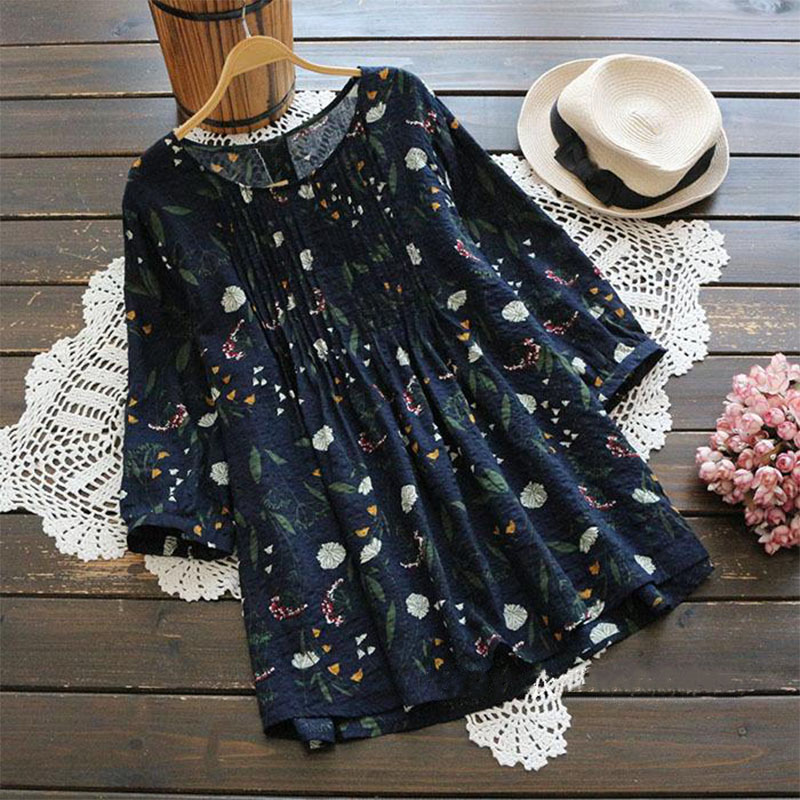 Plus Size ZANZEA 2019 Summer Women Blouse Loose Floral Print Shirt Linen Cotton Top 3 4 Sleeve Blusa Feminina Casual Camisa in Blouses amp Shirts from Women 39 s Clothing