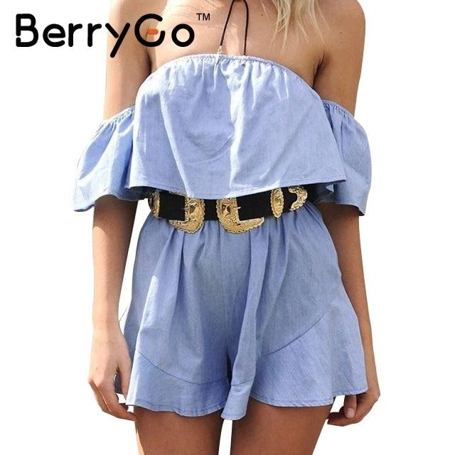 BerryGo Elegant off shoulder jumpsuit romper Ruffle flare sleeve stripe women playsuit Women casual summer beach overalls