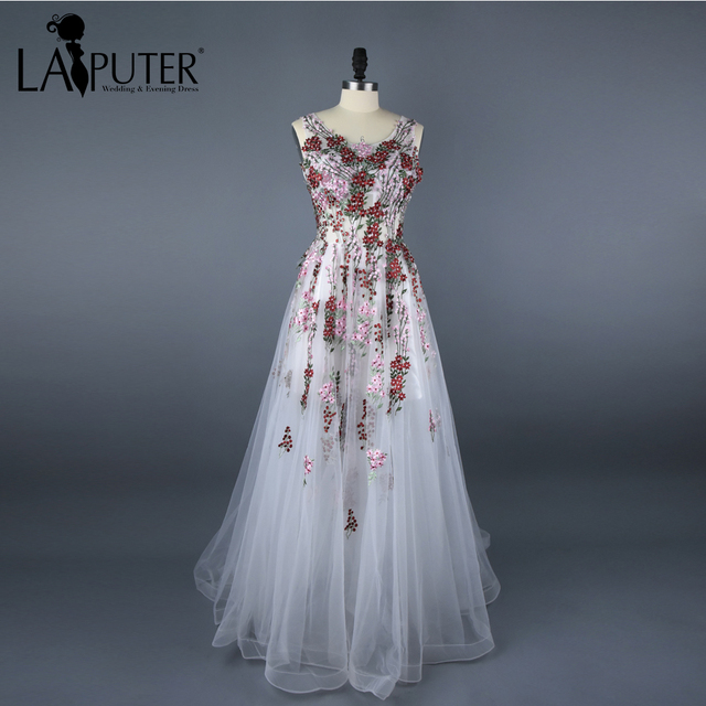 b134c5f89c2a Real Photos Floor Length Long Printed Embroidery Flower Evening Dress  A-line White Chiffon Prom Dresses Party Sweep Train Zipper