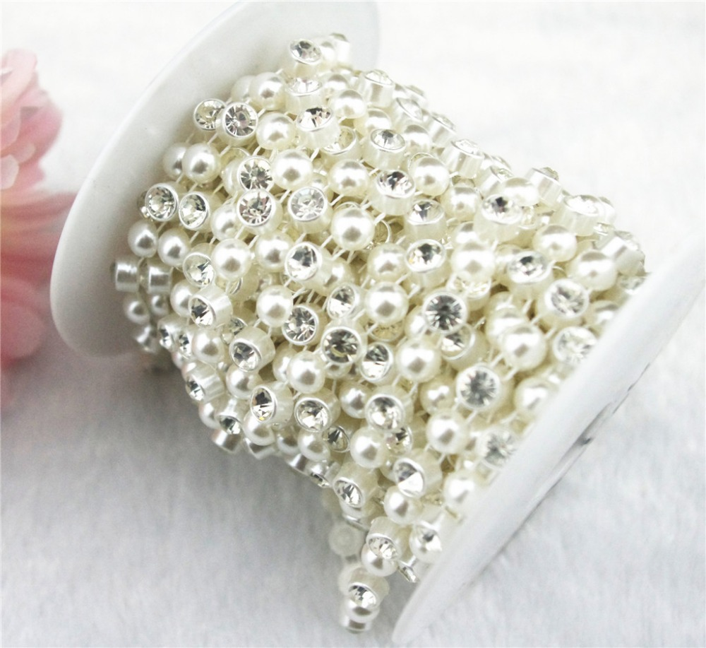 9 m roll 8mm Ivory Heart Pearl Rhinestone Chain Trims Sewing Costume  Applique LZ44-in Rhinestones from Home   Garden on Aliexpress.com  890bbc8df420