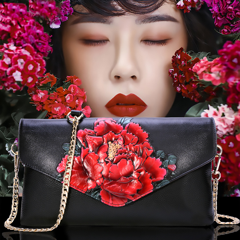 Vintage Style Flower Pattern Chain Shoulder Bag Genuine Leather Top Leather Fashion Women Crossbody Bags Clutch Wallet Gifts high quality chinese style genuine leather vintage flower pattern handbag shell package fashion shoulder messenge women bags