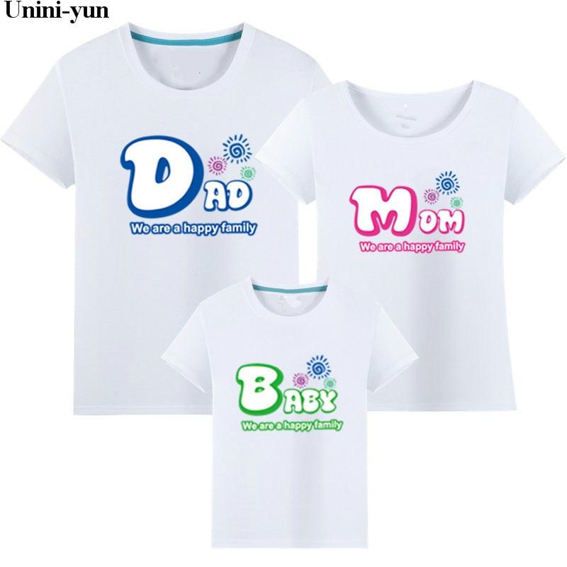 Mutter & Kinder Intellektuell Unini-yun Familie Aussehen Kleidung Familie Sommer Kurzarm T-shirt Papa Mama Kind Baby Mädchen Jungen Kleidung Familie Passender Kleidung Elegante Form