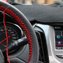 Pu Lederen Steering Covers 36/38/40 Cm Diy Auto Stuurhoes Zacht Leer Braid Ontwerp Met naald En Draad Interieur Kit